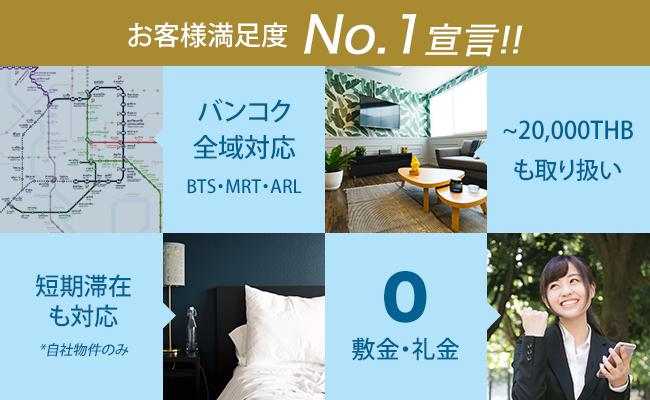 お客様満足度No.1宣言!!, バンコク全域対応BTS・MRT・ARL, ~20,000THBも取り扱い, 短期滞在も対応*自社物件のみ, 0 敷金・礼金