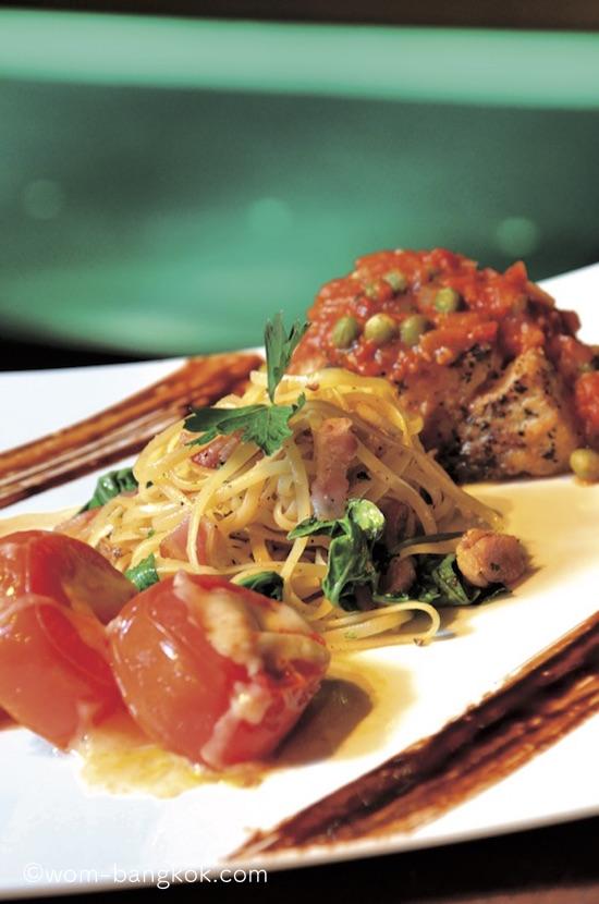 3.ミラノセット 520バーツ.前菜、パスタ、魚料理がセットになったお得なディッシュ