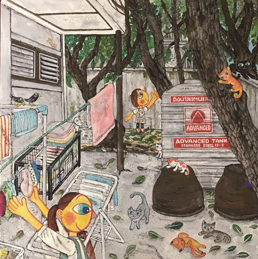 あべきょうこの楽しいバンコク生活「 裏庭で遊ぶネコチャンズー!!」